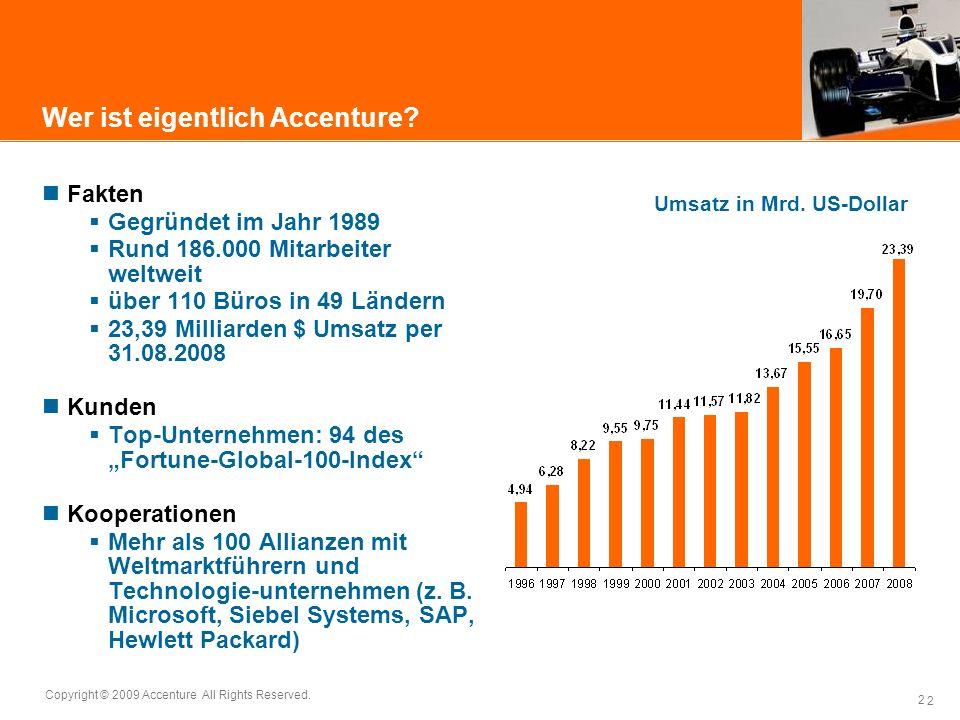2 Copyright © 2009 Accenture All Rights Reserved. 2 Wer ist eigentlich Accenture? Fakten Gegründet im Jahr 1989 Rund 186.000 Mitarbeiter weltweit über