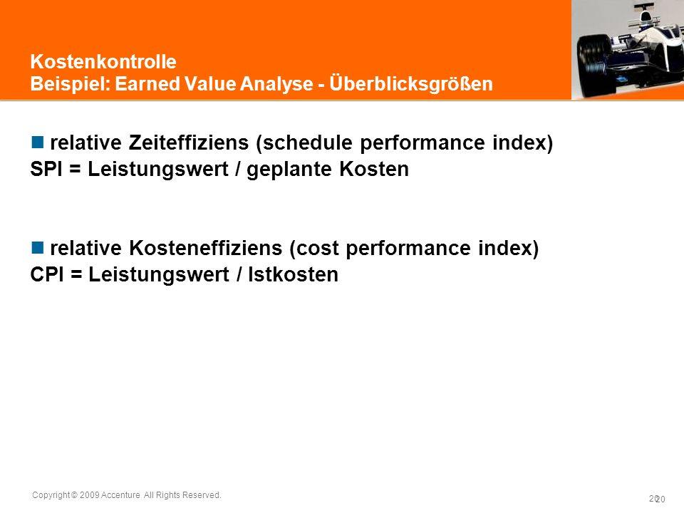 20 Copyright © 2009 Accenture All Rights Reserved. 20 Kostenkontrolle Beispiel: Earned Value Analyse - Überblicksgrößen relative Zeiteffiziens (schedu