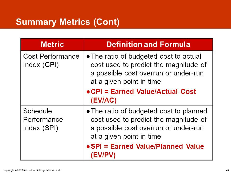 44 Copyright © 2009 Accenture All Rights Reserved. Summary Metrics (Cont) MetricDefinition and Formula Cost Performance Index (CPI) The ratio of budge
