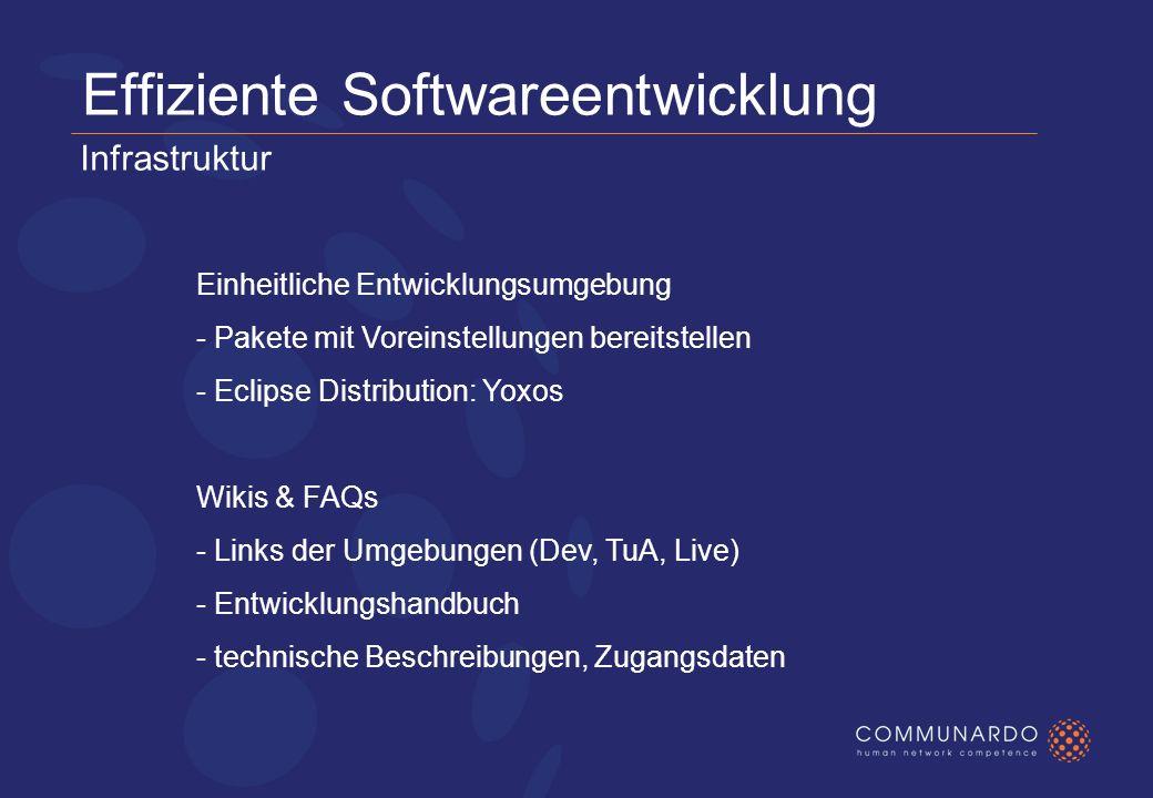 Effiziente Softwareentwicklung Einheitliche Entwicklungsumgebung - Pakete mit Voreinstellungen bereitstellen - Eclipse Distribution: Yoxos Wikis & FAQs - Links der Umgebungen (Dev, TuA, Live) - Entwicklungshandbuch - technische Beschreibungen, Zugangsdaten Infrastruktur