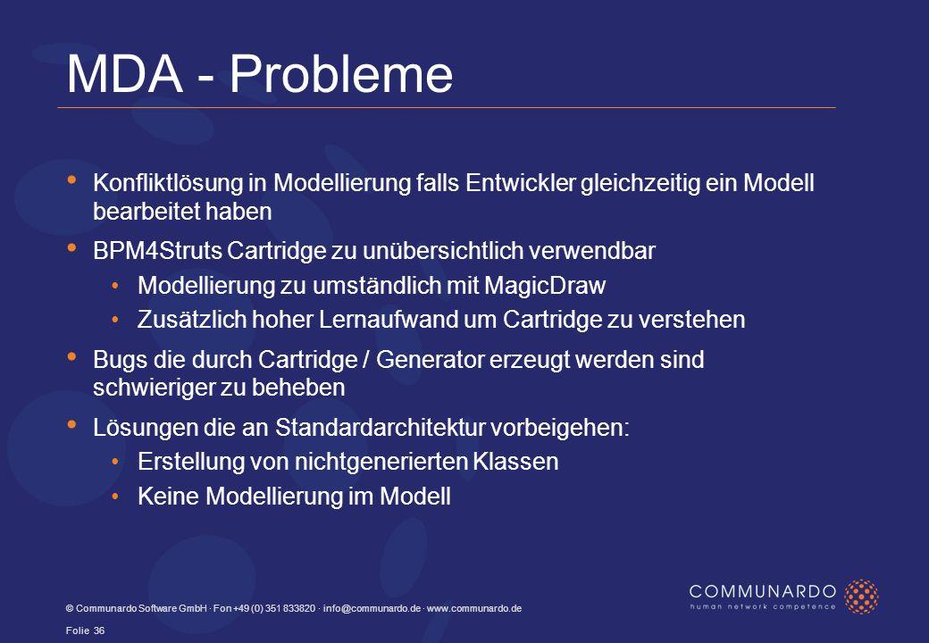 MDA - Probleme Konfliktlösung in Modellierung falls Entwickler gleichzeitig ein Modell bearbeitet haben BPM4Struts Cartridge zu unübersichtlich verwendbar Modellierung zu umständlich mit MagicDraw Zusätzlich hoher Lernaufwand um Cartridge zu verstehen Bugs die durch Cartridge / Generator erzeugt werden sind schwieriger zu beheben Lösungen die an Standardarchitektur vorbeigehen: Erstellung von nichtgenerierten Klassen Keine Modellierung im Modell © Communardo Software GmbH · Fon +49 (0) 351 833820 · info@communardo.de · www.communardo.de Folie 36