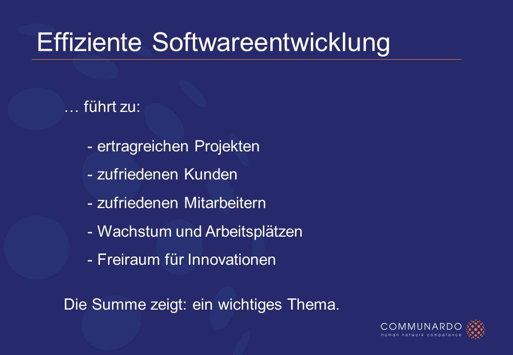 Effiziente Softwareentwicklung … führt zu: - ertragreichen Projekten - zufriedenen Kunden - zufriedenen Mitarbeitern - Wachstum und Arbeitsplätzen - Freiraum für Innovationen Die Summe zeigt: ein wichtiges Thema.