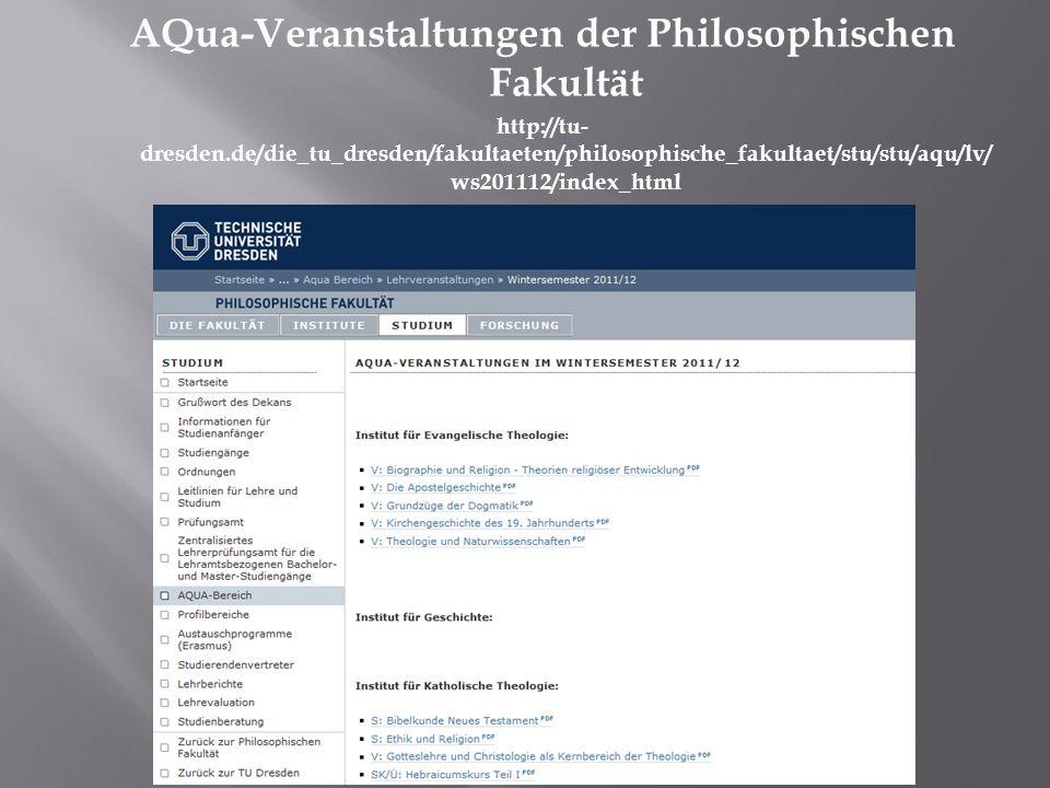 AQua-Veranstaltungen der Philosophischen Fakultät http://tu- dresden.de/die_tu_dresden/fakultaeten/philosophische_fakultaet/stu/stu/aqu/lv/ ws201112/i