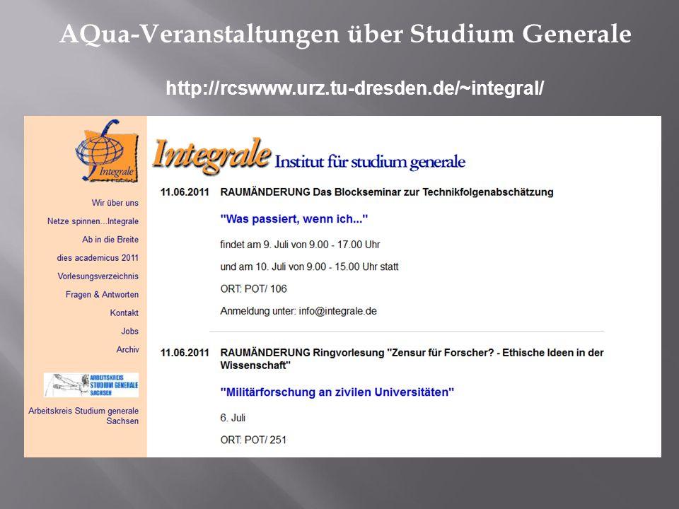 AQua-Veranstaltungen über Studium Generale http://rcswww.urz.tu-dresden.de/~integral/