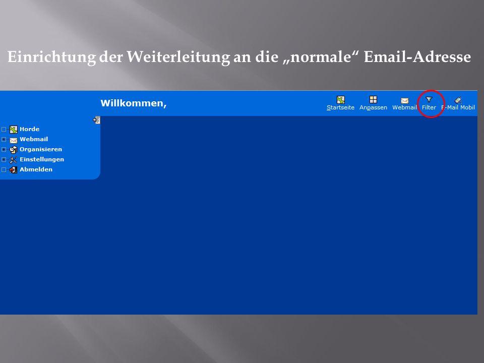 Einrichtung der Weiterleitung an die normale Email-Adresse