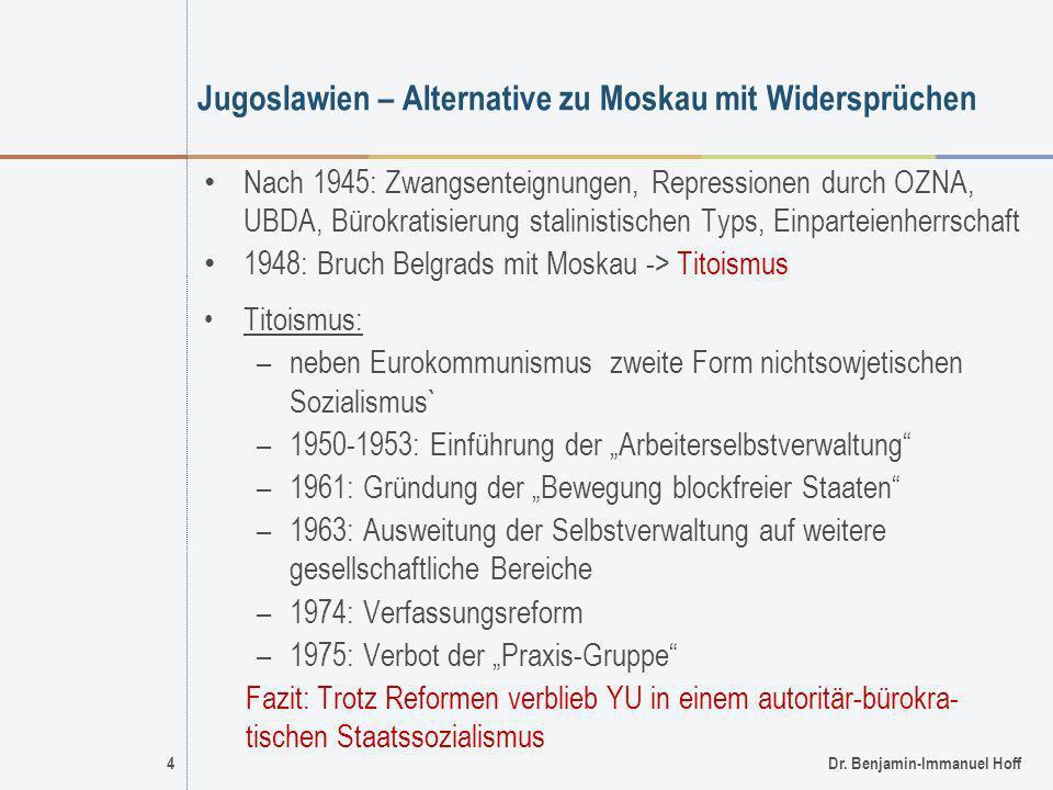4Dr. Benjamin-Immanuel Hoff Jugoslawien – Alternative zu Moskau mit Widersprüchen Nach 1945: Zwangsenteignungen, Repressionen durch OZNA, UBDA, Bürokr