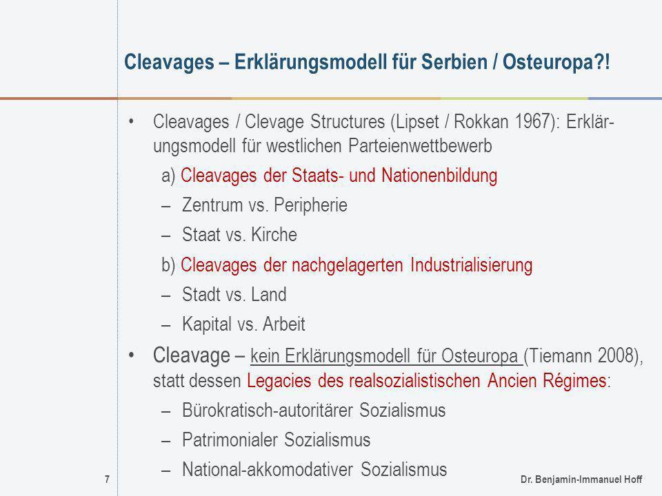 7Dr. Benjamin-Immanuel Hoff Cleavages – Erklärungsmodell für Serbien / Osteuropa?! Cleavages / Clevage Structures (Lipset / Rokkan 1967): Erklär- ungs