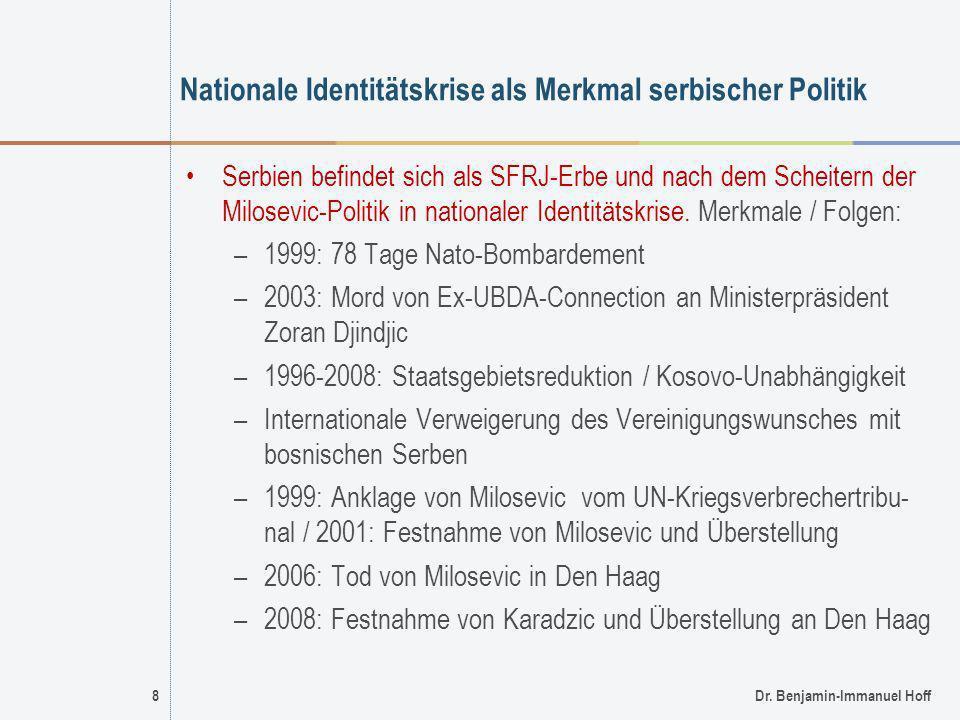 8Dr. Benjamin-Immanuel Hoff Nationale Identitätskrise als Merkmal serbischer Politik Serbien befindet sich als SFRJ-Erbe und nach dem Scheitern der Mi