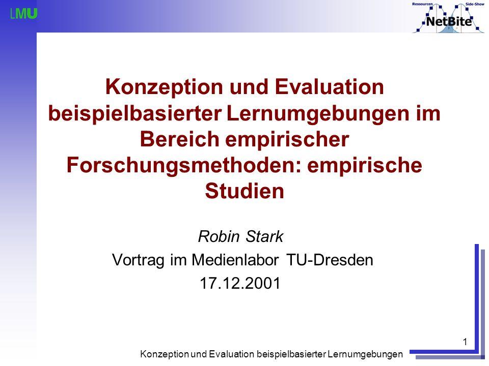 Konzeption und Evaluation beispielbasierter Lernumgebungen 1 Konzeption und Evaluation beispielbasierter Lernumgebungen im Bereich empirischer Forschu