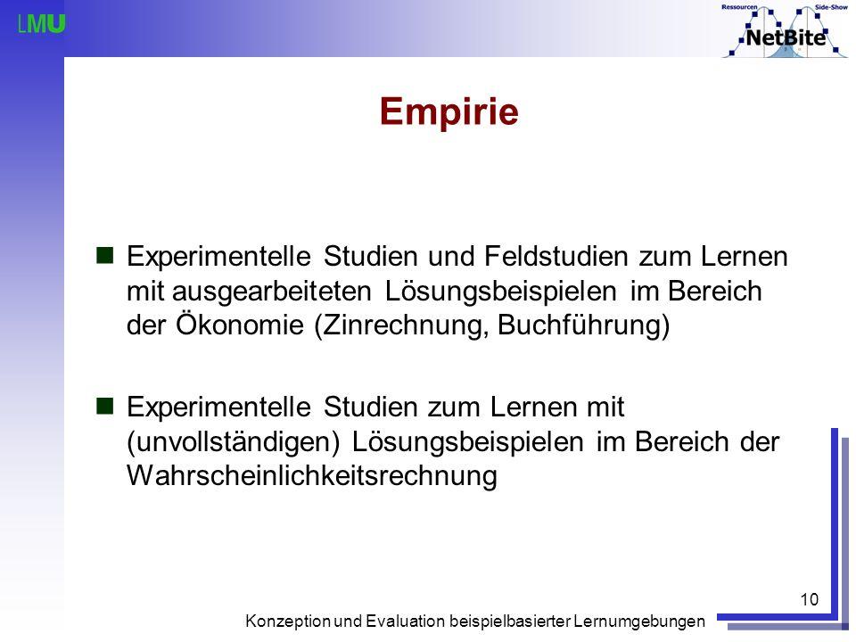 Konzeption und Evaluation beispielbasierter Lernumgebungen 10 Empirie Experimentelle Studien und Feldstudien zum Lernen mit ausgearbeiteten Lösungsbei