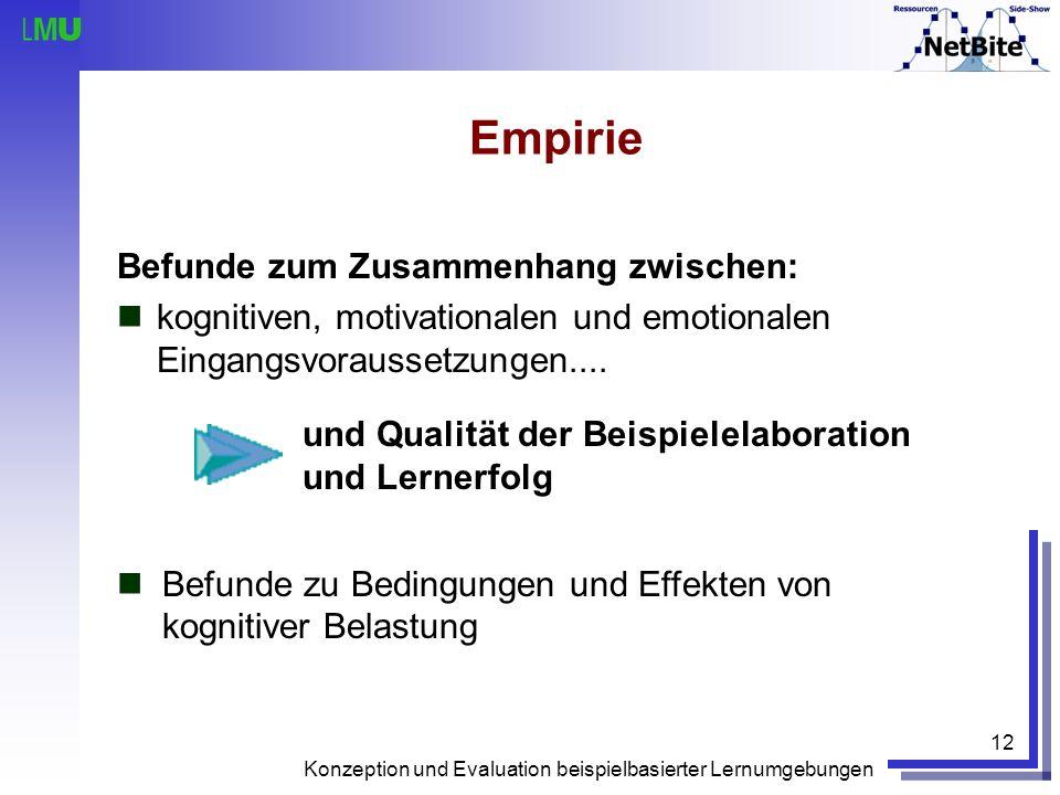 Konzeption und Evaluation beispielbasierter Lernumgebungen 12 Empirie Befunde zum Zusammenhang zwischen: kognitiven, motivationalen und emotionalen Ei