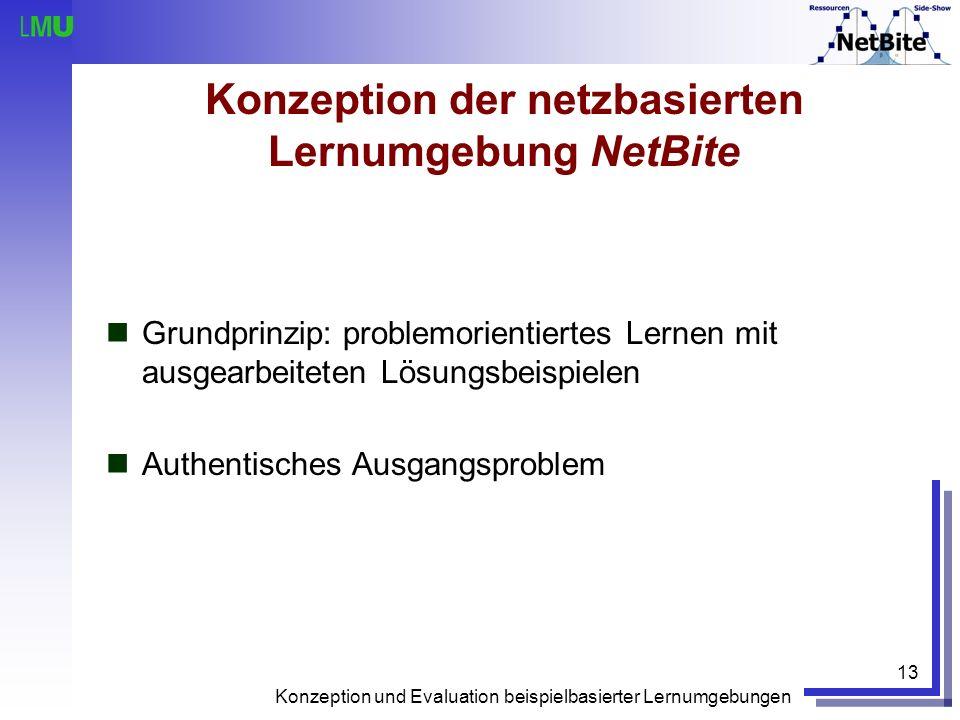 Konzeption und Evaluation beispielbasierter Lernumgebungen 13 Konzeption der netzbasierten Lernumgebung NetBite Grundprinzip: problemorientiertes Lern