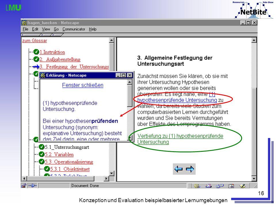 Konzeption und Evaluation beispielbasierter Lernumgebungen 16