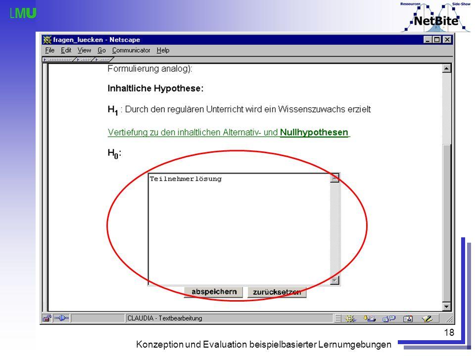 Konzeption und Evaluation beispielbasierter Lernumgebungen 18