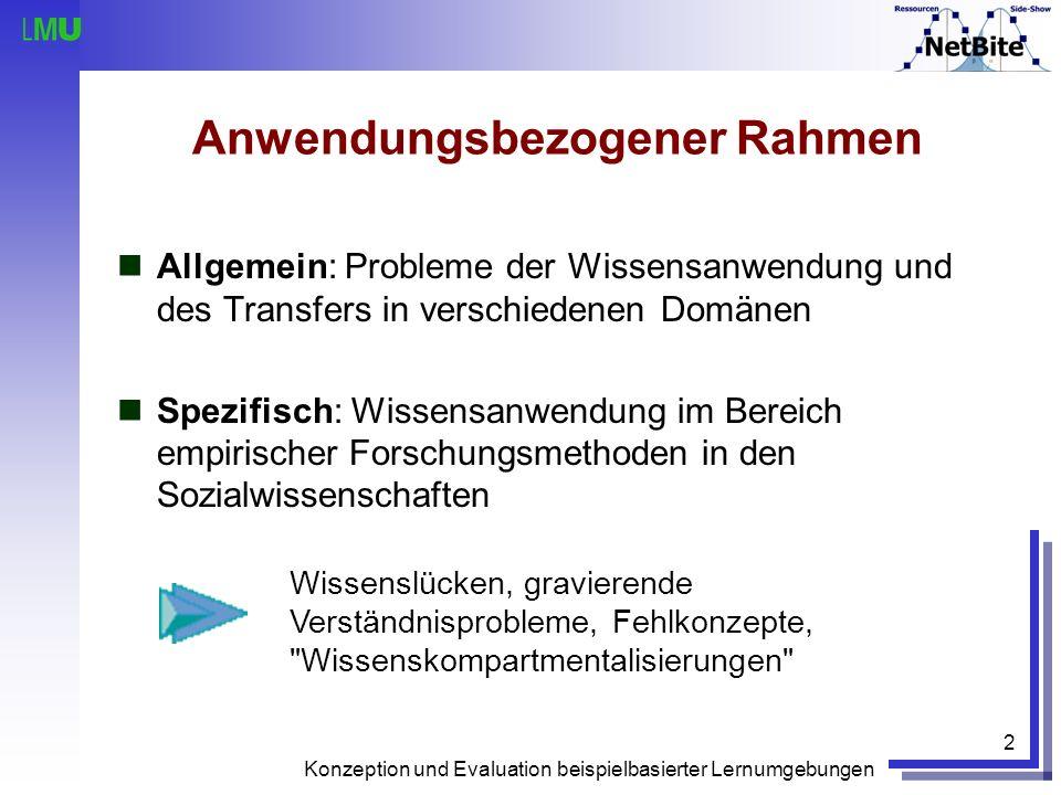 Konzeption und Evaluation beispielbasierter Lernumgebungen 2 Anwendungsbezogener Rahmen Allgemein: Probleme der Wissensanwendung und des Transfers in