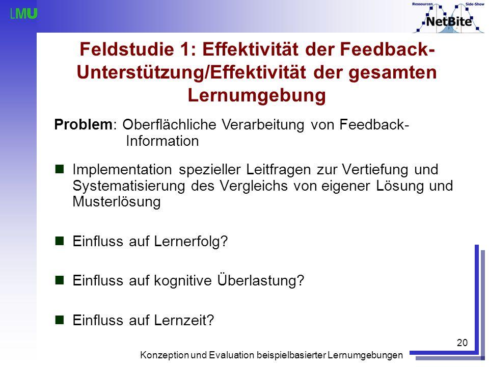 Konzeption und Evaluation beispielbasierter Lernumgebungen 20 Feldstudie 1: Effektivität der Feedback- Unterstützung/Effektivität der gesamten Lernumg