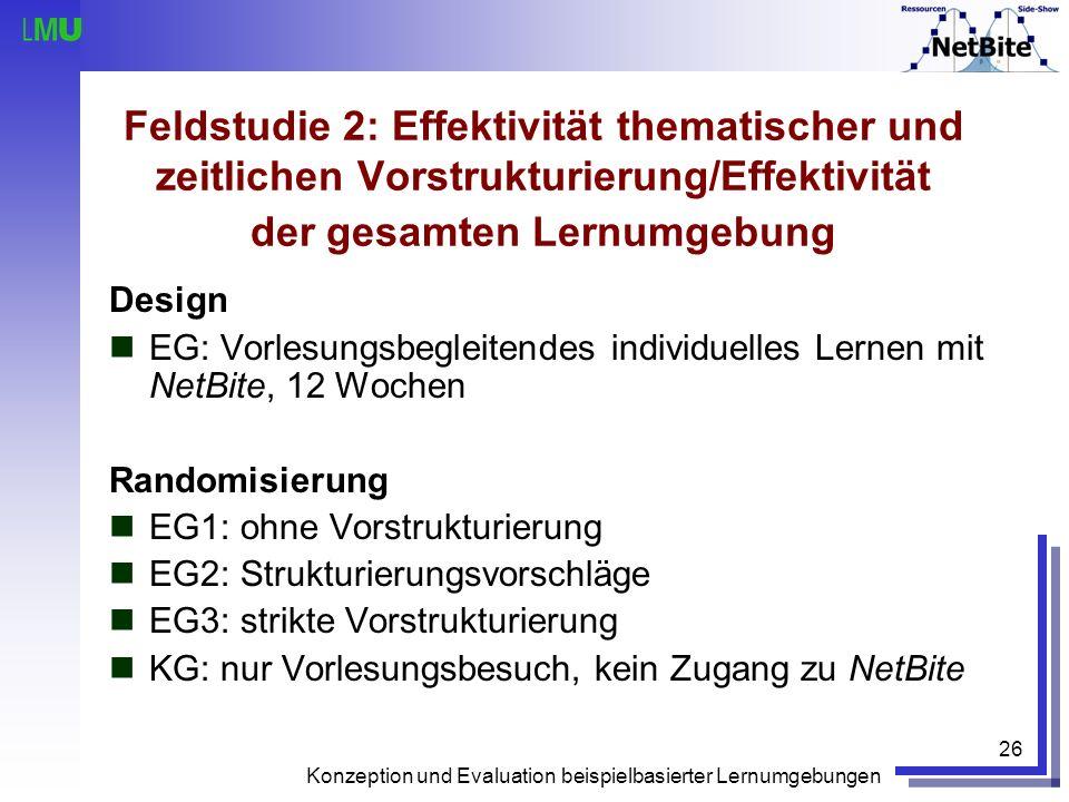 Konzeption und Evaluation beispielbasierter Lernumgebungen 26 Feldstudie 2: Effektivität thematischer und zeitlichen Vorstrukturierung/Effektivität de