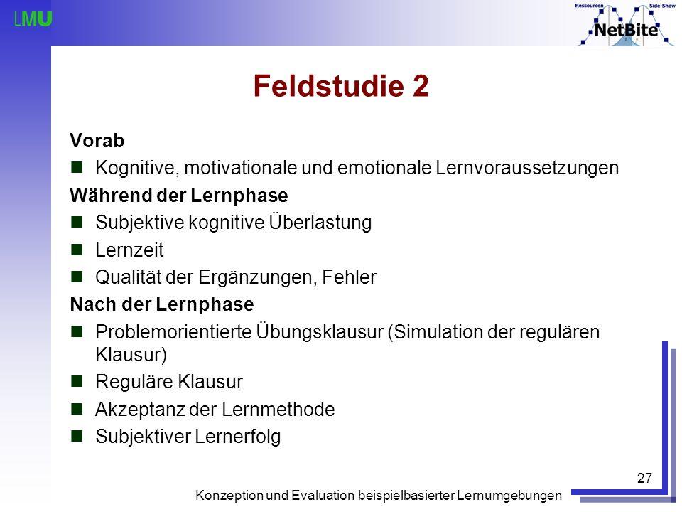 Konzeption und Evaluation beispielbasierter Lernumgebungen 27 Vorab Kognitive, motivationale und emotionale Lernvoraussetzungen Während der Lernphase