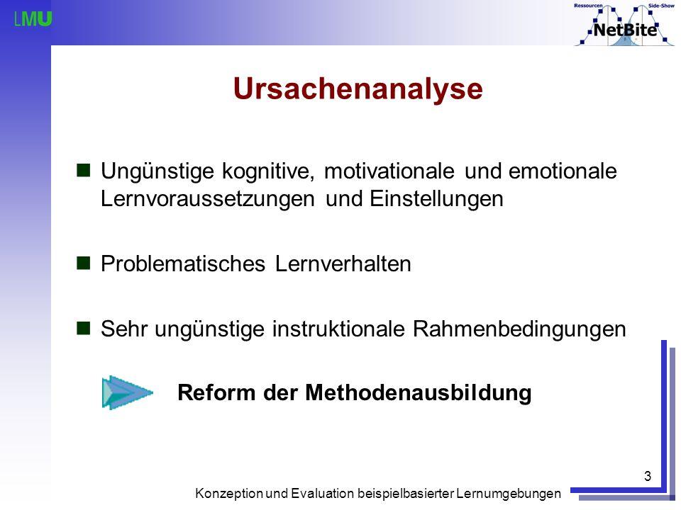 Konzeption und Evaluation beispielbasierter Lernumgebungen 3 Ursachenanalyse Ungünstige kognitive, motivationale und emotionale Lernvoraussetzungen un