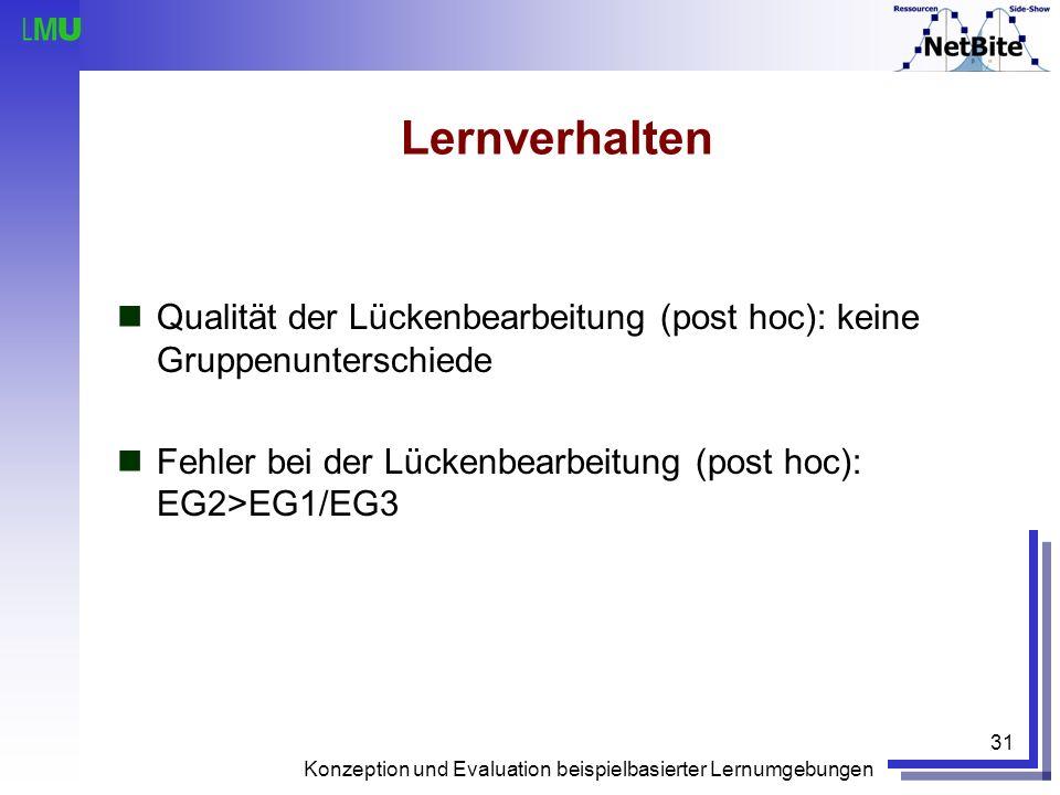 Konzeption und Evaluation beispielbasierter Lernumgebungen 31 Lernverhalten Qualität der Lückenbearbeitung (post hoc): keine Gruppenunterschiede Fehle