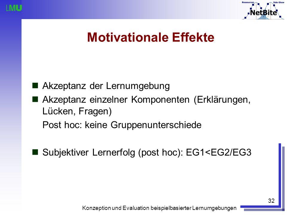 Konzeption und Evaluation beispielbasierter Lernumgebungen 32 Motivationale Effekte Akzeptanz der Lernumgebung Akzeptanz einzelner Komponenten (Erklär