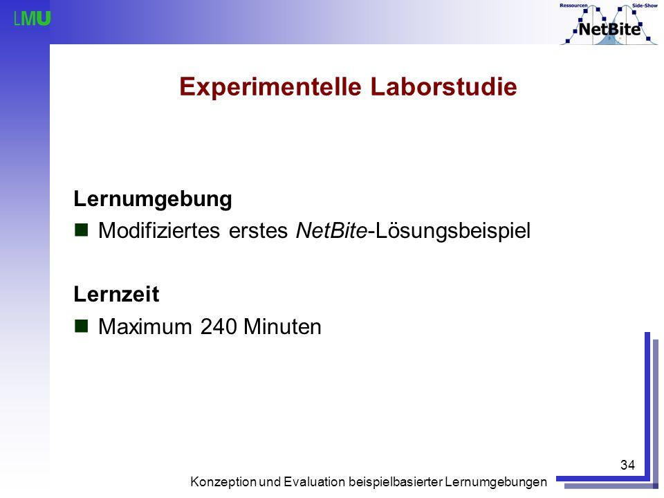 Konzeption und Evaluation beispielbasierter Lernumgebungen 34 Experimentelle Laborstudie Lernumgebung Modifiziertes erstes NetBite-Lösungsbeispiel Ler