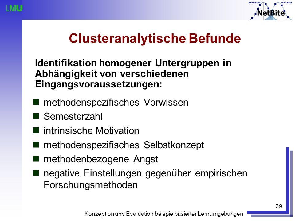 Konzeption und Evaluation beispielbasierter Lernumgebungen 39 Clusteranalytische Befunde methodenspezifisches Vorwissen Semesterzahl intrinsische Moti