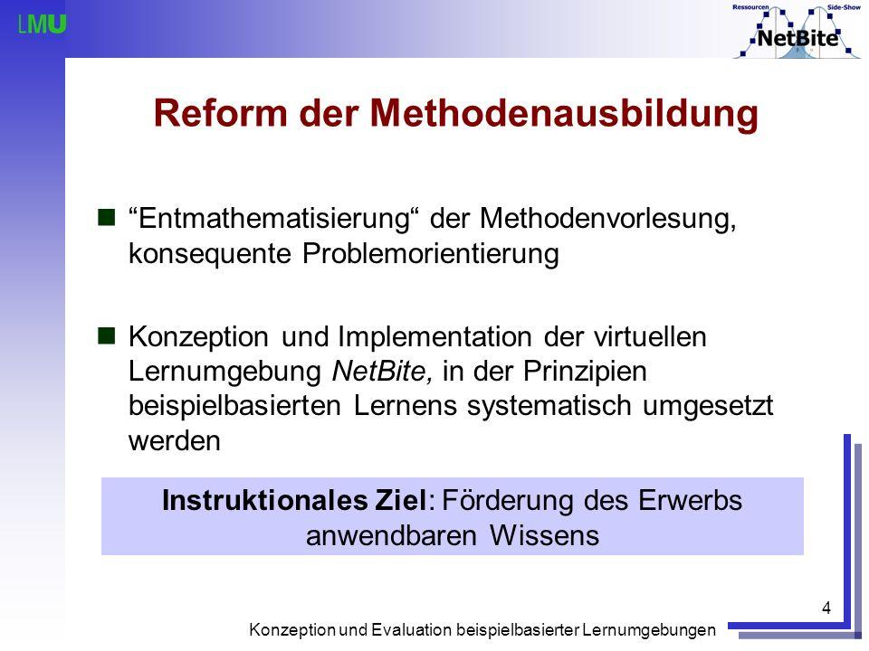 Konzeption und Evaluation beispielbasierter Lernumgebungen 4 Reform der Methodenausbildung Entmathematisierung der Methodenvorlesung, konsequente Prob