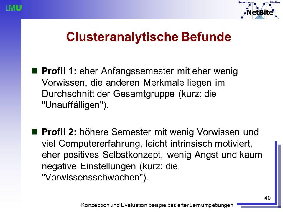 Konzeption und Evaluation beispielbasierter Lernumgebungen 40 Clusteranalytische Befunde Profil 1: eher Anfangssemester mit eher wenig Vorwissen, die