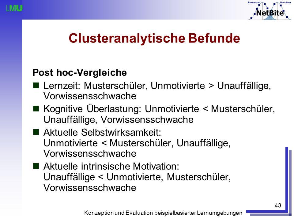 Konzeption und Evaluation beispielbasierter Lernumgebungen 43 Clusteranalytische Befunde Post hoc-Vergleiche Lernzeit: Musterschüler, Unmotivierte > U