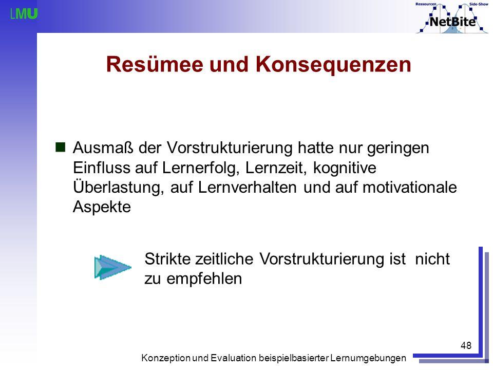 Konzeption und Evaluation beispielbasierter Lernumgebungen 48 Resümee und Konsequenzen Ausmaß der Vorstrukturierung hatte nur geringen Einfluss auf Le