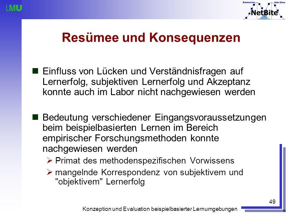 Konzeption und Evaluation beispielbasierter Lernumgebungen 49 Resümee und Konsequenzen Einfluss von Lücken und Verständnisfragen auf Lernerfolg, subje
