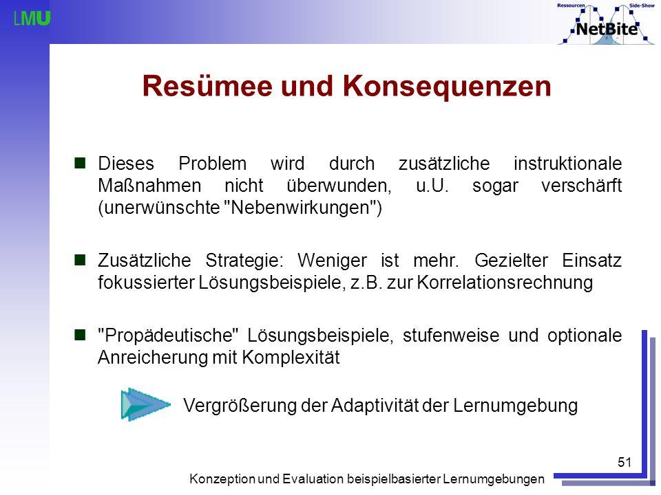Konzeption und Evaluation beispielbasierter Lernumgebungen 51 Resümee und Konsequenzen Dieses Problem wird durch zusätzliche instruktionale Maßnahmen