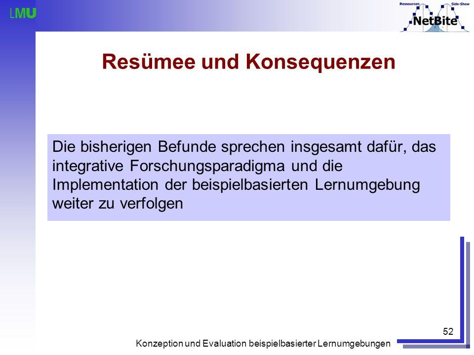 Konzeption und Evaluation beispielbasierter Lernumgebungen 52 Resümee und Konsequenzen Die bisherigen Befunde sprechen insgesamt dafür, das integrativ