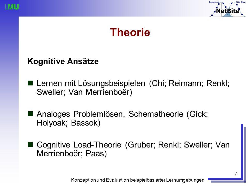 Konzeption und Evaluation beispielbasierter Lernumgebungen 7 Theorie Kognitive Ansätze Lernen mit Lösungsbeispielen (Chi; Reimann; Renkl; Sweller; Van