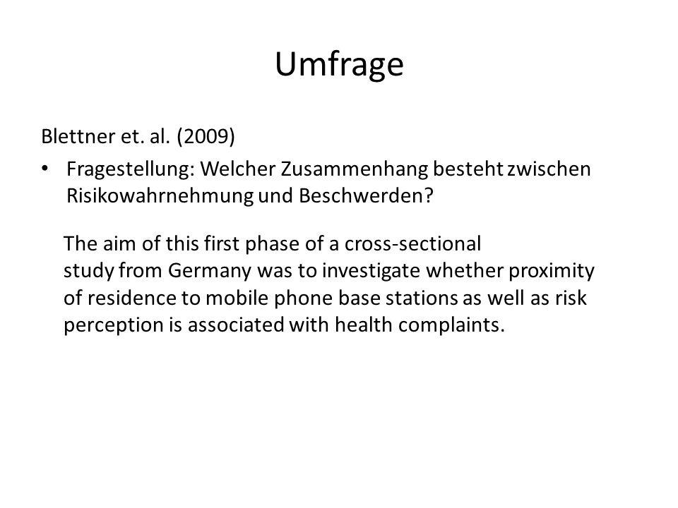 Umfrage Blettner et. al. (2009) Fragestellung: Welcher Zusammenhang besteht zwischen Risikowahrnehmung und Beschwerden? The aim of this first phase of
