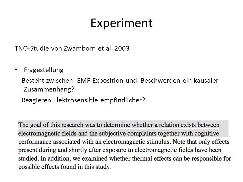 TNO-Studie von Zwamborn et al. 2003 Fragestellung Besteht zwischen EMF-Exposition und Beschwerden ein kausaler Zusammenhang? Reagieren Elektrosensible
