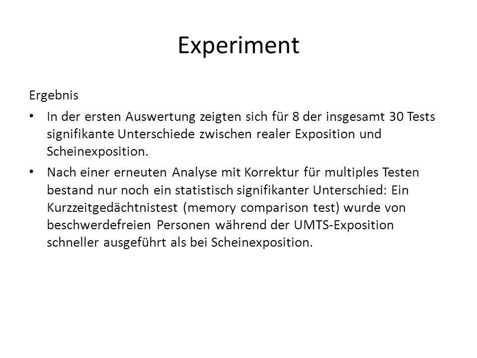 Ergebnis In der ersten Auswertung zeigten sich für 8 der insgesamt 30 Tests signifikante Unterschiede zwischen realer Exposition und Scheinexposition.