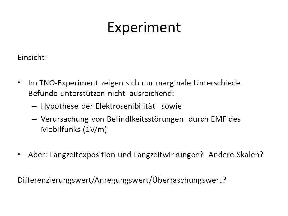 Einsicht: Im TNO-Experiment zeigen sich nur marginale Unterschiede. Befunde unterstützen nicht ausreichend: – Hypothese der Elektrosenibilität sowie –