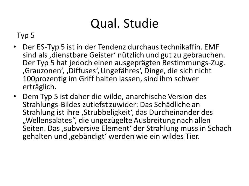 Qual. Studie Der ES-Typ 5 ist in der Tendenz durchaus technikaffin. EMF sind als dienstbare Geister nützlich und gut zu gebrauchen. Der Typ 5 hat jedo