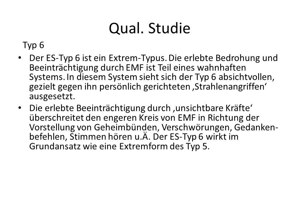 Qual. Studie Der ES-Typ 6 ist ein Extrem-Typus. Die erlebte Bedrohung und Beeinträchtigung durch EMF ist Teil eines wahnhaften Systems. In diesem Syst