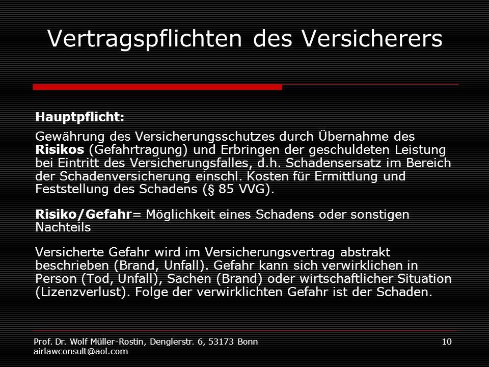 Prof. Dr. Wolf Müller-Rostin, Denglerstr. 6, 53173 Bonn airlawconsult@aol.com 10 Vertragspflichten des Versicherers Hauptpflicht: Gewährung des Versic