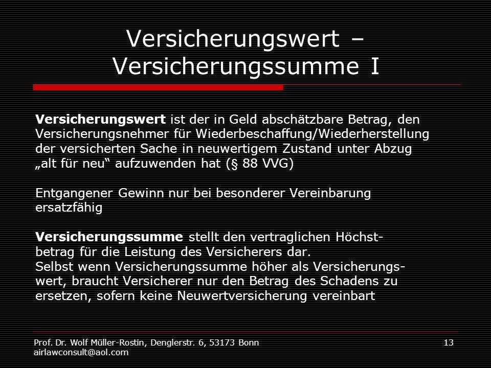 Prof. Dr. Wolf Müller-Rostin, Denglerstr. 6, 53173 Bonn airlawconsult@aol.com 13 Versicherungswert – Versicherungssumme I Versicherungswert ist der in