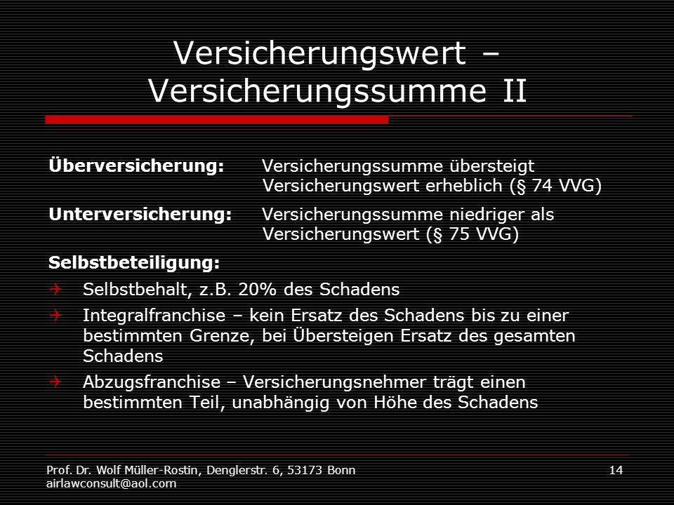 Prof. Dr. Wolf Müller-Rostin, Denglerstr. 6, 53173 Bonn airlawconsult@aol.com 14 Versicherungswert – Versicherungssumme II Überversicherung: Versicher