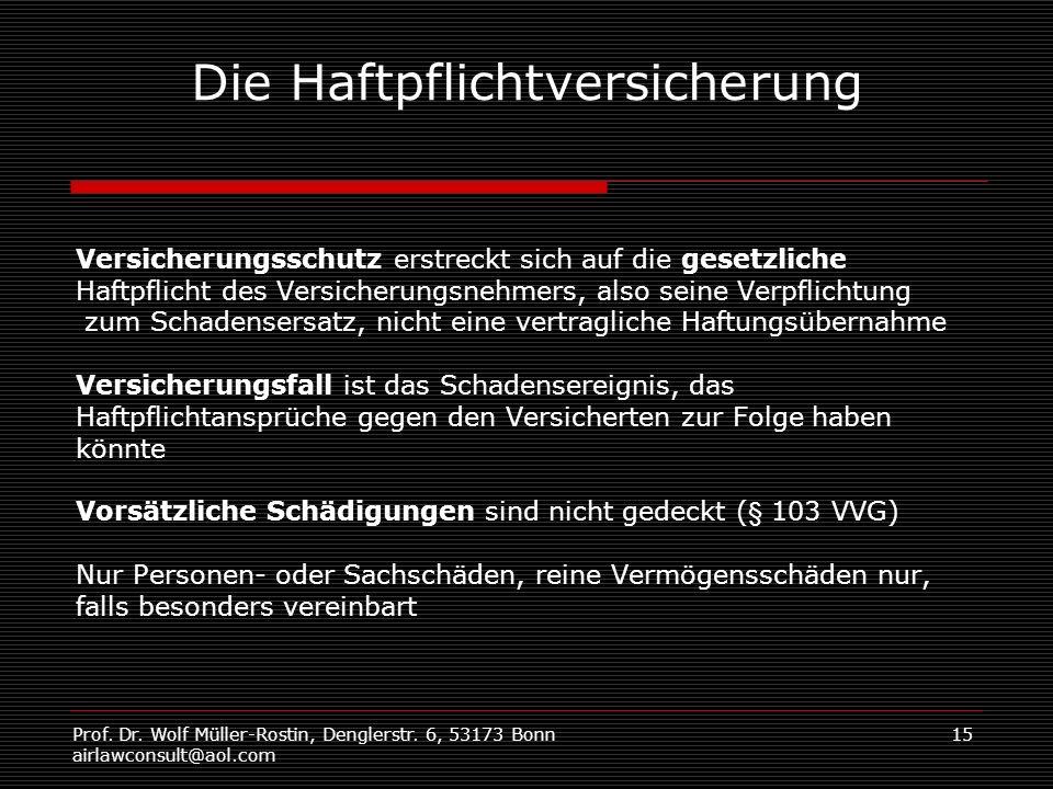 Prof. Dr. Wolf Müller-Rostin, Denglerstr. 6, 53173 Bonn airlawconsult@aol.com 15 Die Haftpflichtversicherung Versicherungsschutz erstreckt sich auf di