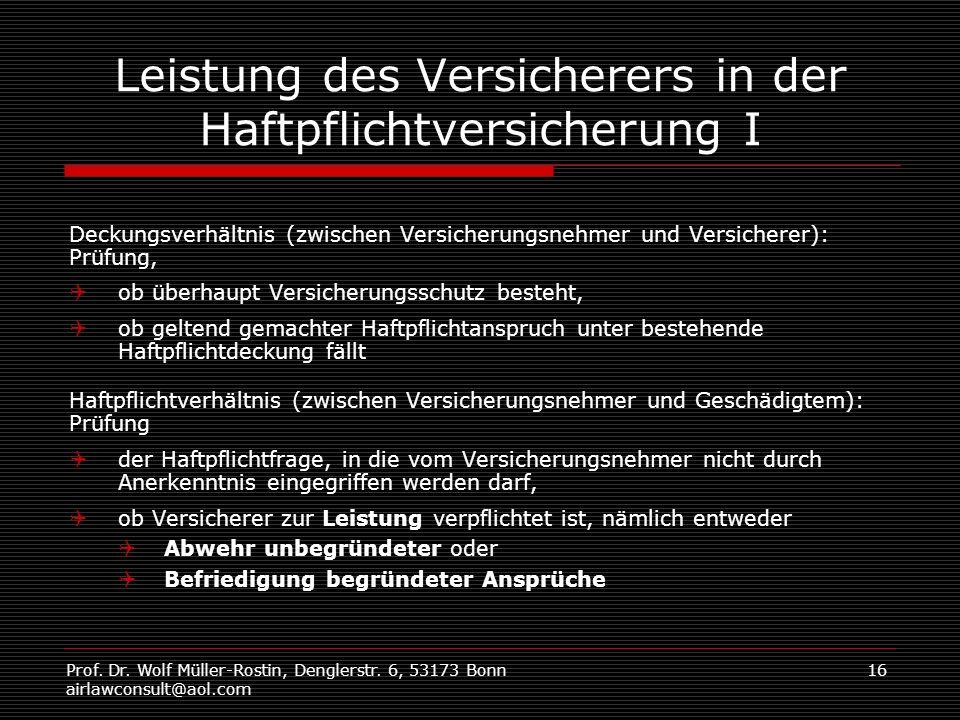 Prof. Dr. Wolf Müller-Rostin, Denglerstr. 6, 53173 Bonn airlawconsult@aol.com 16 Leistung des Versicherers in der Haftpflichtversicherung I Deckungsve