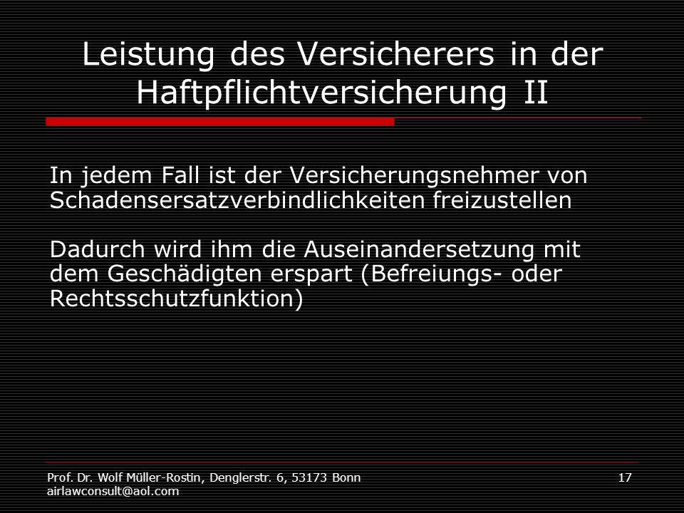 Prof. Dr. Wolf Müller-Rostin, Denglerstr. 6, 53173 Bonn airlawconsult@aol.com 17 Leistung des Versicherers in der Haftpflichtversicherung II In jedem
