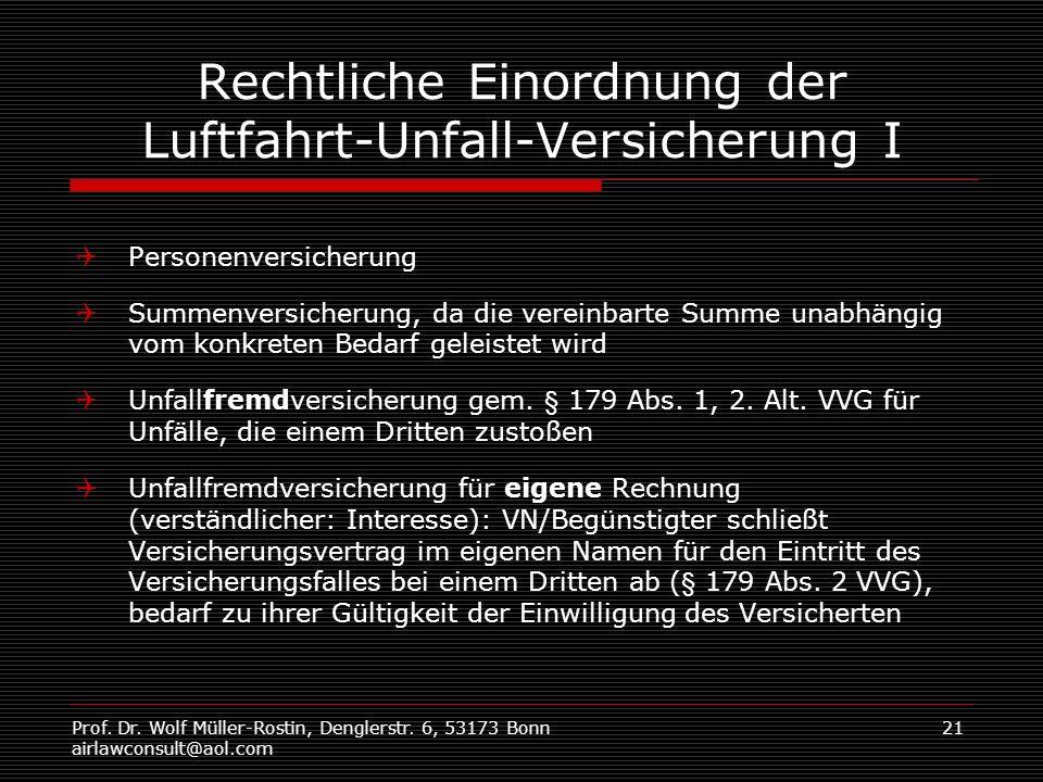 Prof. Dr. Wolf Müller-Rostin, Denglerstr. 6, 53173 Bonn airlawconsult@aol.com 21 Rechtliche Einordnung der Luftfahrt-Unfall-Versicherung I Personenver