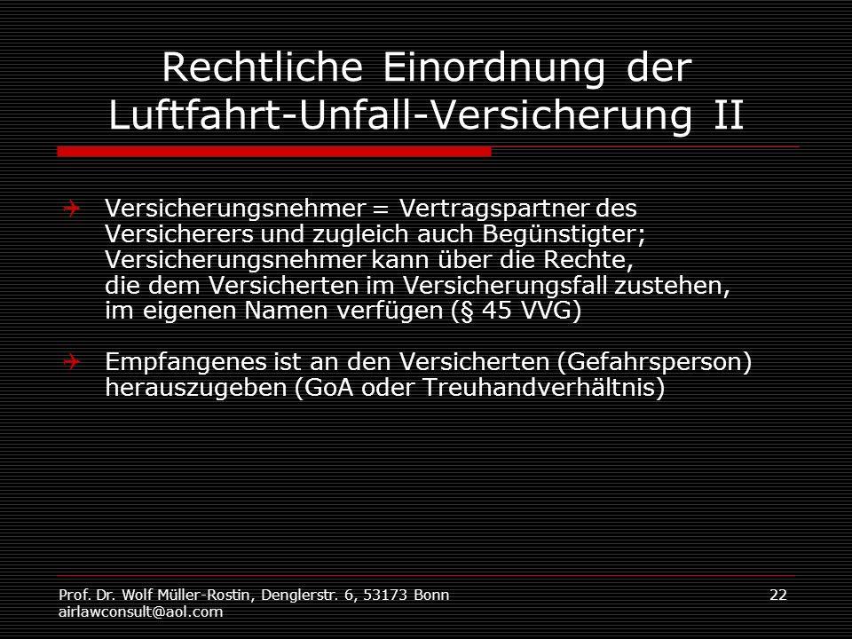 Prof. Dr. Wolf Müller-Rostin, Denglerstr. 6, 53173 Bonn airlawconsult@aol.com 22 Rechtliche Einordnung der Luftfahrt-Unfall-Versicherung II Versicheru