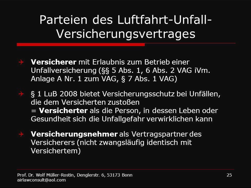 Prof. Dr. Wolf Müller-Rostin, Denglerstr. 6, 53173 Bonn airlawconsult@aol.com 25 Parteien des Luftfahrt-Unfall- Versicherungsvertrages Versicherer mit